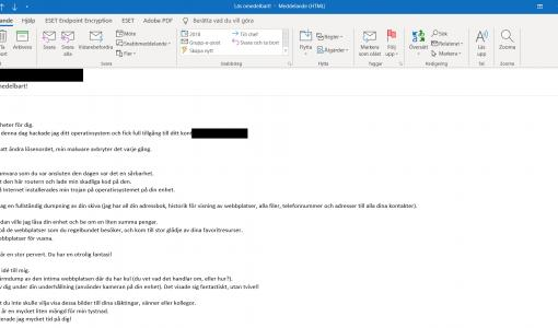 ESET registrerer en bølge af flersprogede mailbaserede svindelforsøg via sextortion, der skræmmer ofrene til at betale